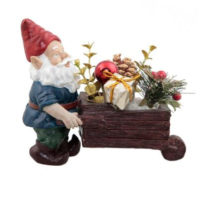 6.5 in. H Christmas Arrangement in Cement Gnome Push with Pinecones and Berries