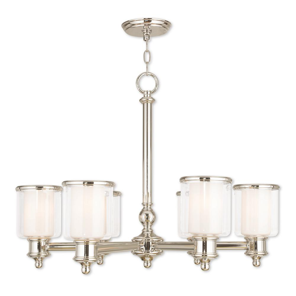 Middlebush 6-Light Polished Nickel Chandelier with Hand Crafted Clear and Satin