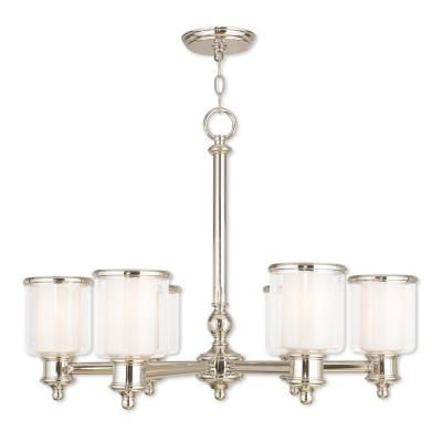 Middlebush 6-Light Polished Nickel Chandelier with Hand Crafted Clear and Satin Opal White Glass Shade