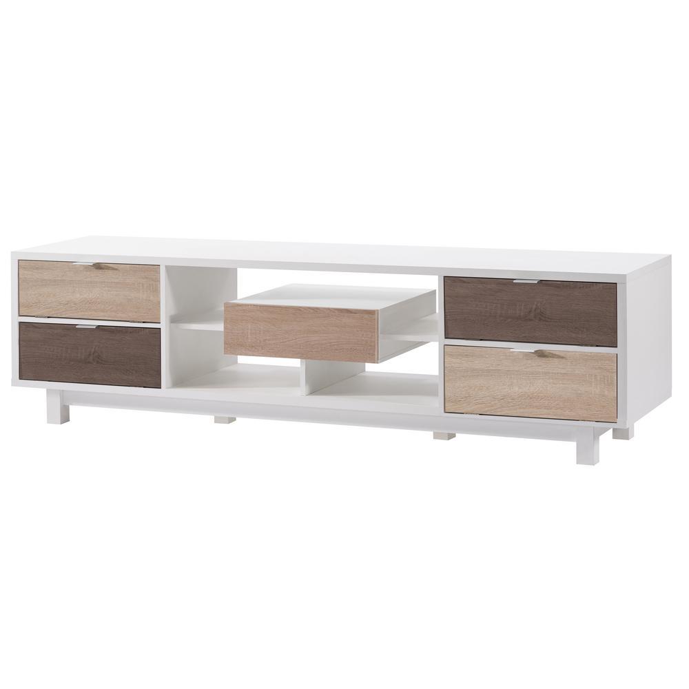 Releine White Two-Tone TV Stand
