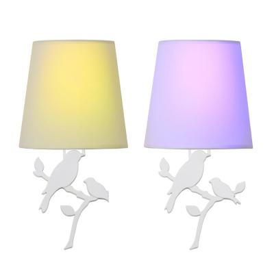 White Battery Operated Wall Light Bird Integrated LED Sconce (2-Pack)