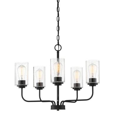 Logan 5-Light Matte Black Chandelier with Clear Seedy Glass Shades