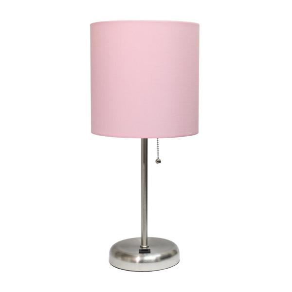 19.5 in. Light Pink and Brushed Steel Stick Lamp with USB Charging Port