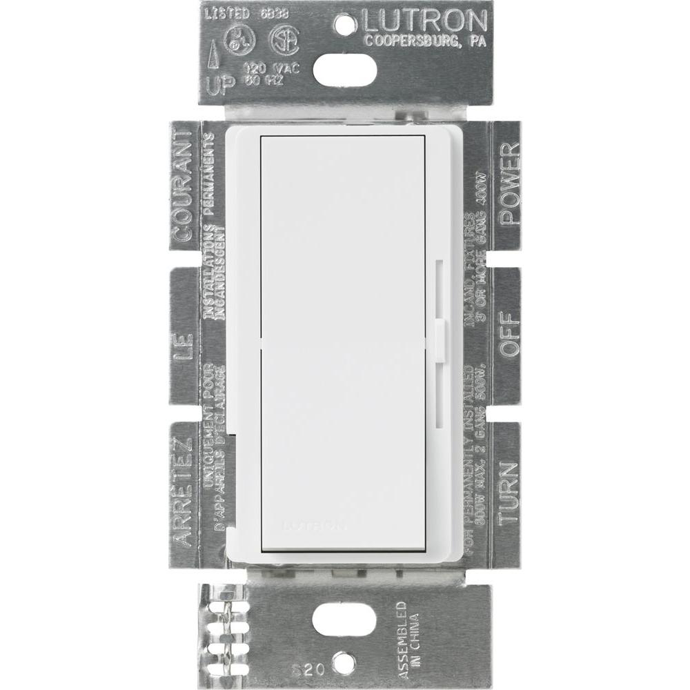 Lutron Diva Dimmer for Incandescent and Halogen, 600-Watt, Single-Pole or 3-Way, White