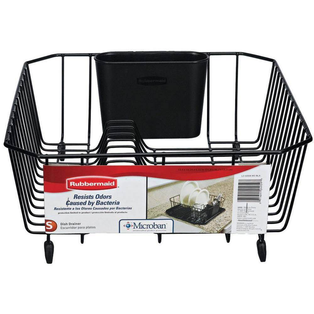 Rubbermaid Antimicrobial Small Black Dish Drainer