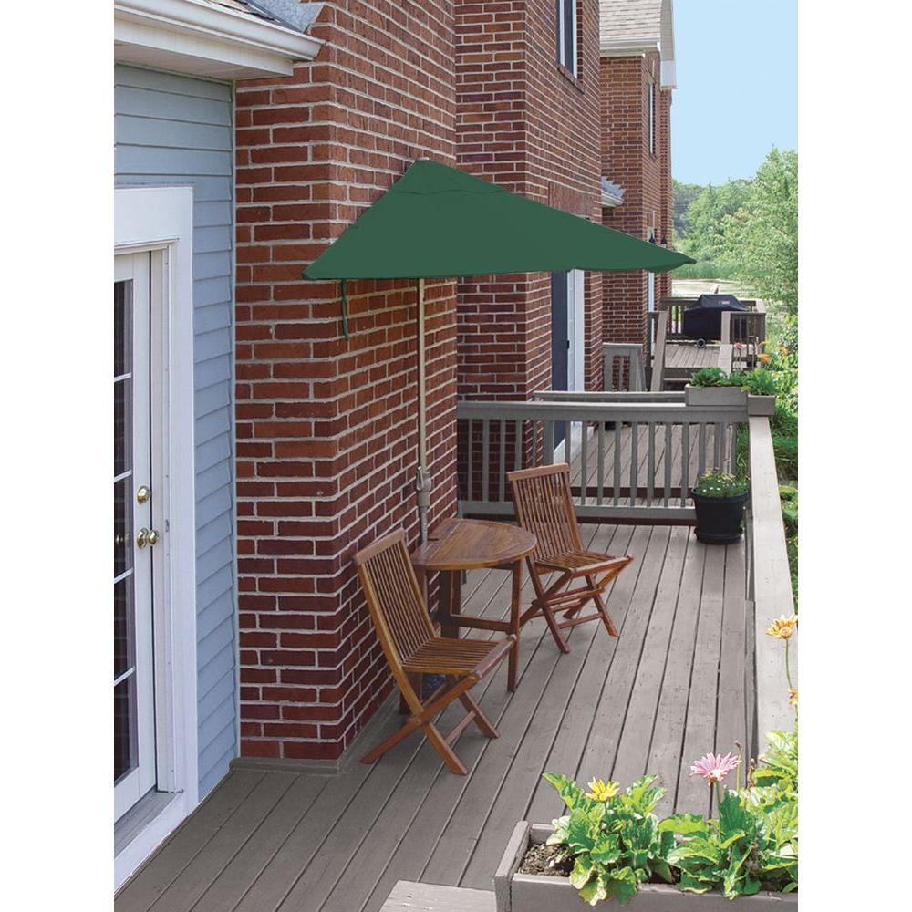 Blue Star Group Terrace Mates Caleo Economy 5-Piece Patio Bistro Set with 7.5 ft. Green Olefin Half-Umbrella