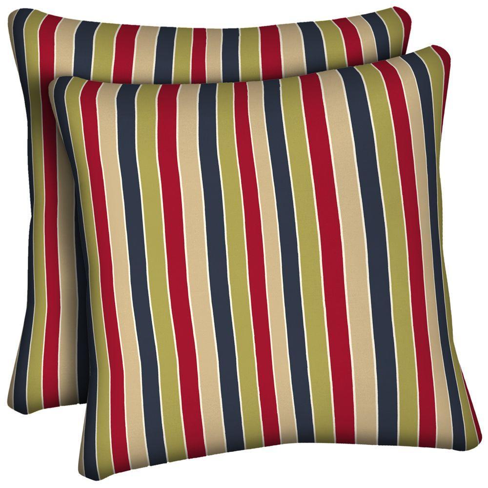 Hampton Bay Geranium Pinstripe Outdoor Throw Pillow (2-Pack)