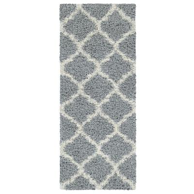 Ultimate Shaggy Contemporary Moroccan Trellis Design Gray 2 ft. x 5 ft. Runner Rug