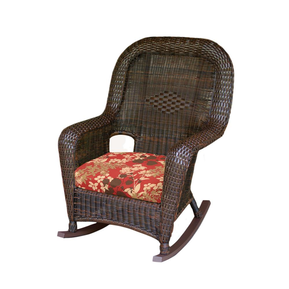 Pleasant Tortuga Outdoor Sea Pines Java Wicker Outdoor Rocking Chair With Montfleuri Sangria Cushion Squirreltailoven Fun Painted Chair Ideas Images Squirreltailovenorg