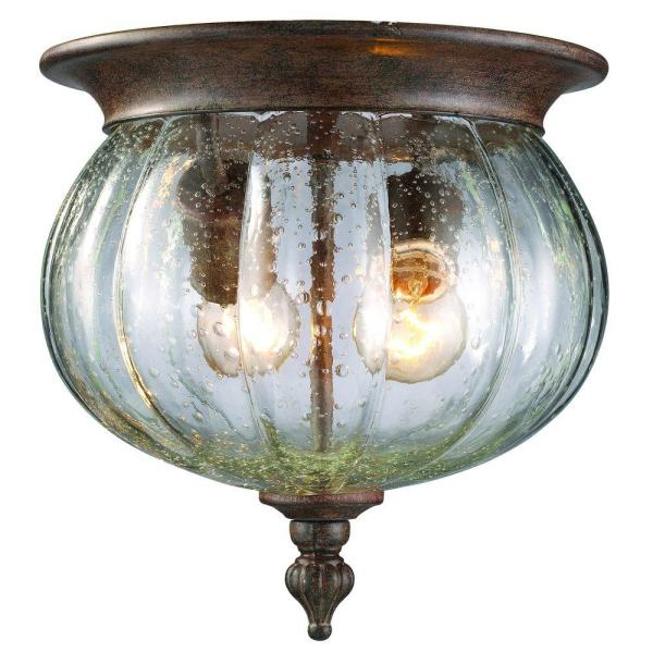 Lawrence Collection 2-Light Weathered Bronze Outdoor Flushmount