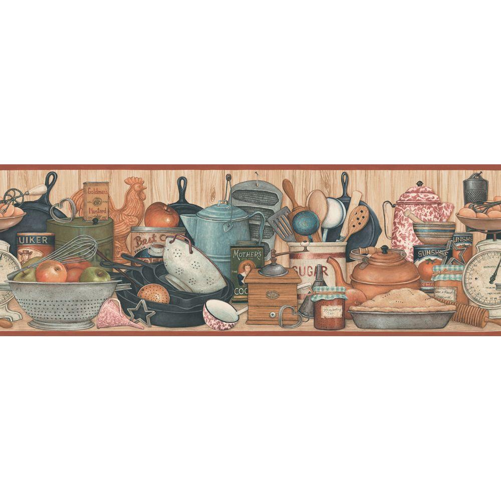 The Wallpaper Company 9.25 in. x 15 ft. Earth Tone Kitchen Shelf Border