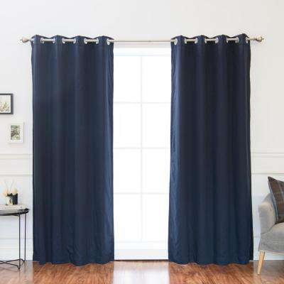 84 in. L Solid Cotton Blend Blackout Curtains in Navy (2-Pack)