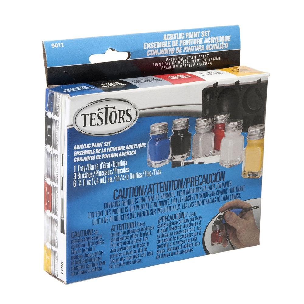 Testors 0 25 Oz 6 Color Acrylic Paint Set 4 Pack