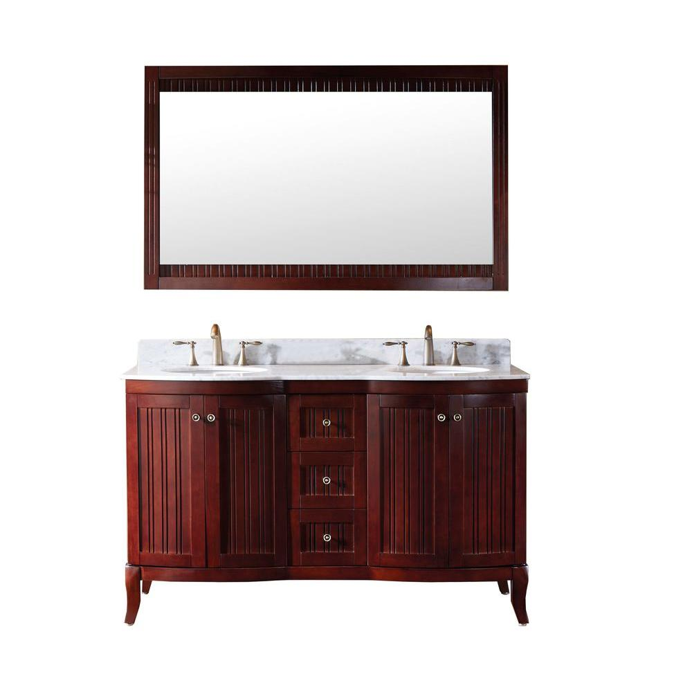 Virtu USA Khaleesi 60 in. Double Vanity in Antique Cherry with Marble Vanity Top in Italian Carrara White and Mirror-DISCONTINUED