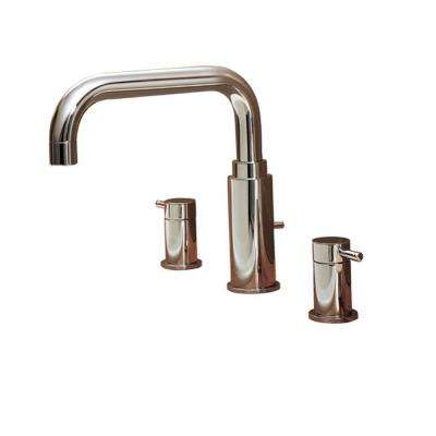 Serin 2-Handle Deck-Mount Roman Tub Faucet Less Personal Shower in Polished Chrome
