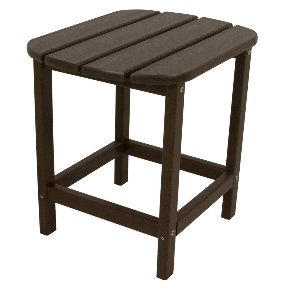 POLYWOOD South Beach 18 In. Mahogany Patio Side Table