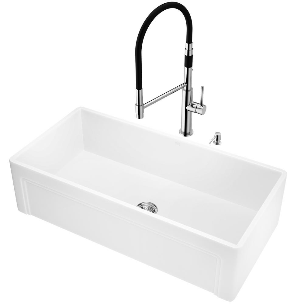 VIGO All-in-One Farmhouse Apron Front Matte Stone 36 in. Single Bowl Kitchen Sink and Faucet Set in Chrome