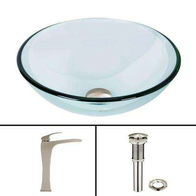 Glass Vessel Bathroom Sink in Clear Crystalline and Blackstonian Vessel Faucet Set in Brushed Nickel