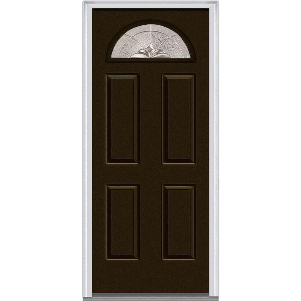 32 in. x 80 in. Heirloom Master Left-Hand 1/4-Lite Decorative 4-Panel Painted Fiberglass Smooth Prehung Front Door