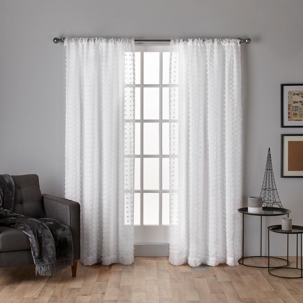 Spirit Winter White Woven Pouf Applique Sheer Rod Pocket Top Window Curtain