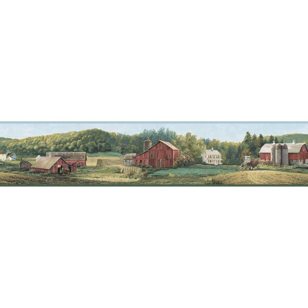 Chesapeake Winder Luther's Farm Wallpaper Border, Green