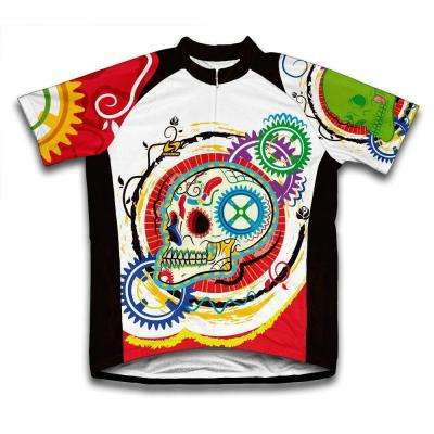 Unisex Medium Multi-Colored Elegant Skull Microfiber Short-Sleeved Cycling Jersey