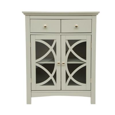 32 in. Wooden Gray Floor Storage Cabinet with Double Drawers and Doors