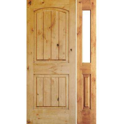 46 in. x 80 in. Rustic Unfinished Knotty Alder Arch Top VG Right-Hand Right Half Sidelite Clear Glass Prehung Front Door