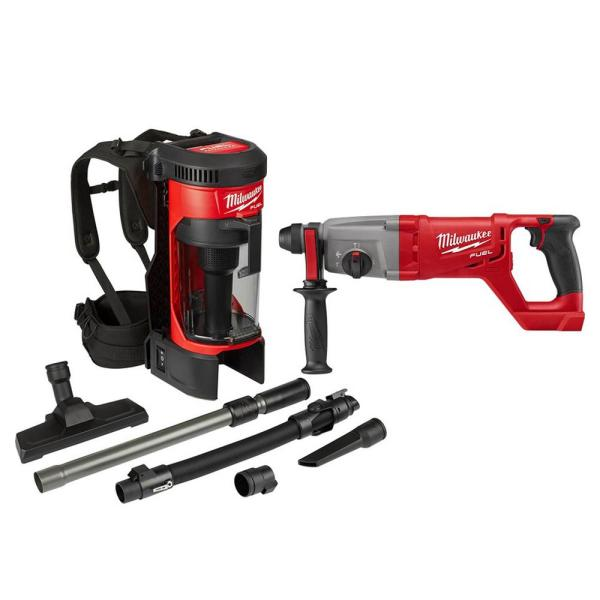 M18 FUEL 18-Volt Lithium-Ion Brushless 1 Gal. Cordless 3-in-1 Backpack Vacuum with 1 in. SDS-Plus Rotary Hammer (2-Tool)