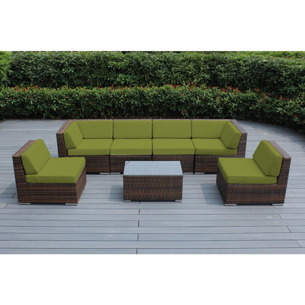 Ohana Depot Mixed Brown 7-Piece Wicker Patio Seating Set with Spuncrylic Peridot Cushions