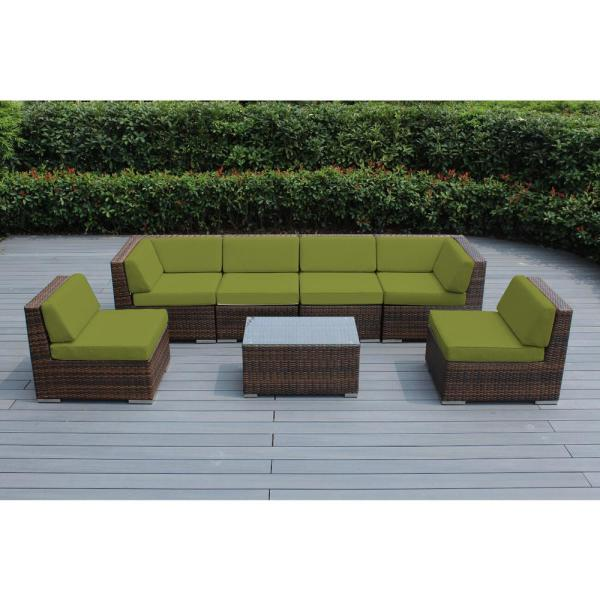 Mixed Brown 7-Piece Wicker Patio Seating Set with Supercrylic Peridot Cushions