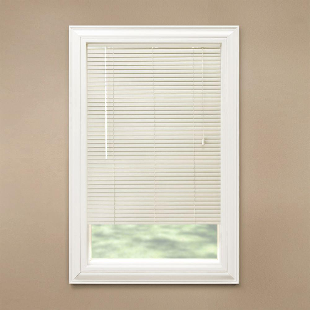 Hampton Bay Cut-to-Width Alabaster 1-3/8 in. Room Darkening Vinyl Mini Blind - 52.5 in. W x 48 in. L