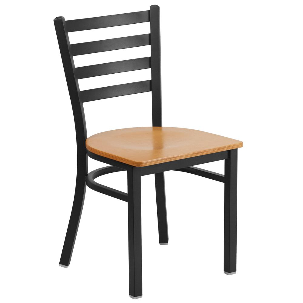 Charmant Flash Furniture Hercules Series Black Ladder Back Metal Restaurant Chair  With Natural Wood Seat
