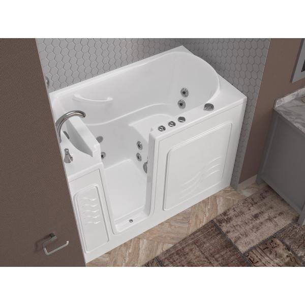 Universal Tubs Hd Series 53 In Left Drain Quick Fill Walk In Whirlpool Bath Tub With Powered Fast Drain In White Hd3053lwh The Home Depot