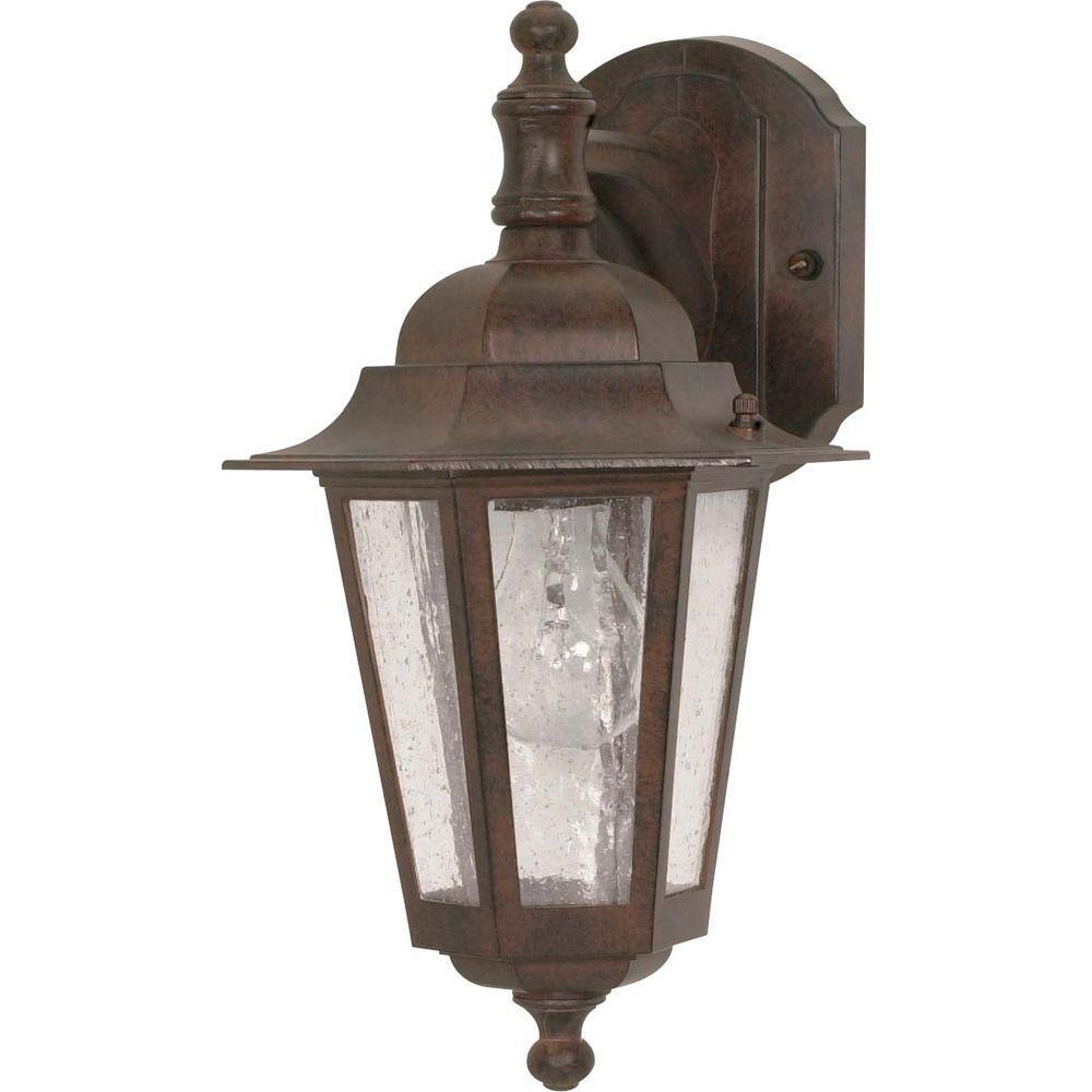 1-Light Outdoor Old Bronze Incandescent Sconce Light
