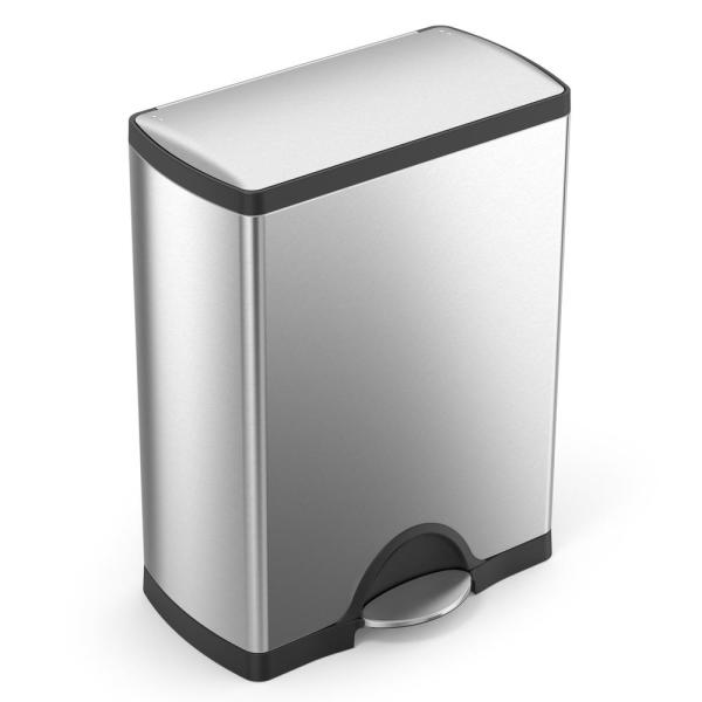 50-Liter Fingerprint-Proof Brushed Stainless Steel Rectangular Step-On Trash Can
