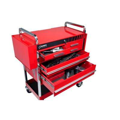 20 in. 5-Drawer Heavy-Duty Utility Cart in Red