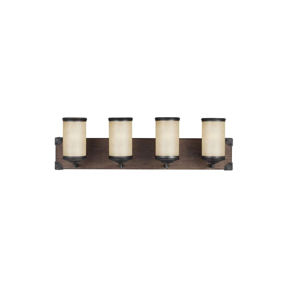 Sea Gull Lighting Dunning 26.25 in. W. 4-Light Weathered Gray and Distressed Oak Vanity Light