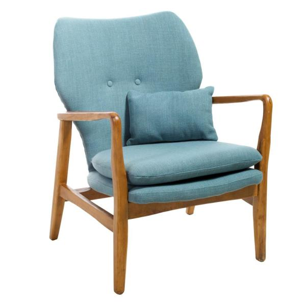 Haddie Button Back Light Blue Fabric Club Chair with Wooden Frame