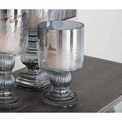 10 in. Smoked Black Hurricane Glass Baluster Candle Holder