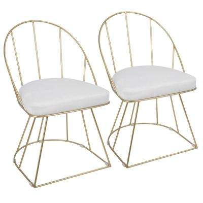Canary White Mohair Fabric and Gold Dining Chair (Set of 2)