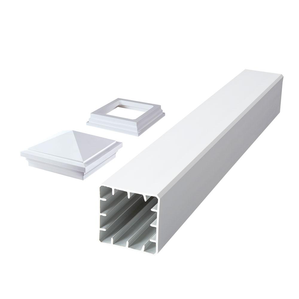 Fiberon Symmetry 5 in  x 5 in  x 39 in  Tranquil White Capped Composite  Beveled Post Sleeve Kit with Cap and Skirt
