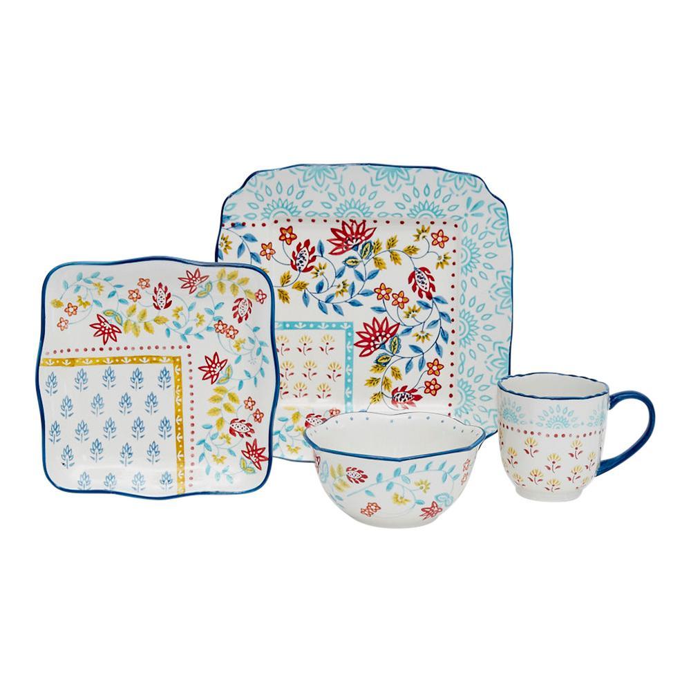 Boho Scarf 16-Piece Ceramic Dinnerware Set