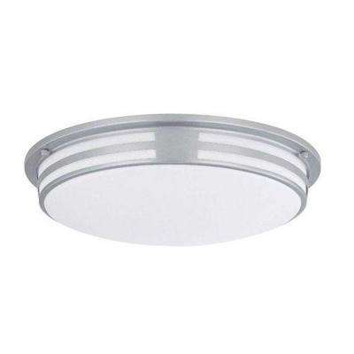 Designer Collection 2-Light Silver Flush Mount with White Acrylic Shade