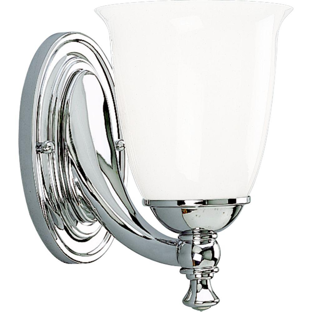Progress Lighting Victorian Collection 1 Light Chrome Bath Sconce With White Opal Glass Shade