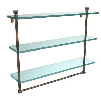 Foxtrot 22 in. L  x 18 in. H  x 5 in. W 3-Tier Clear Glass Bathroom Shelf with Towel Bar in Venetian Bronze