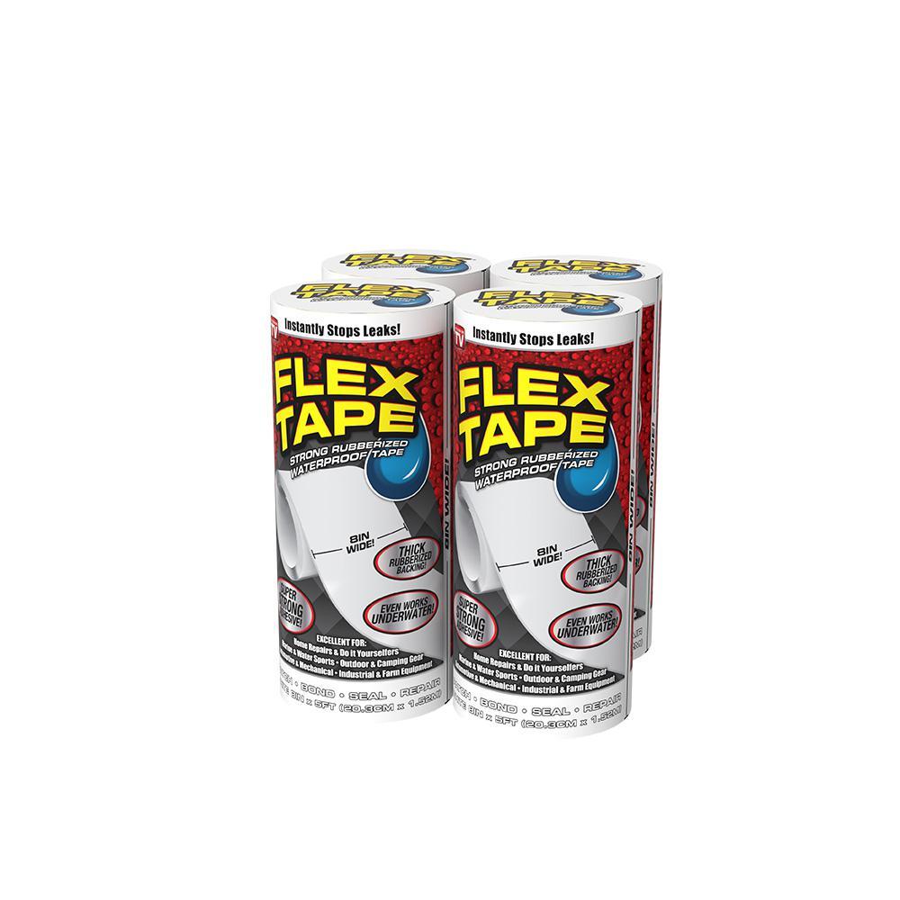 Flex Tape White 8 in. x 5 ft. Strong Rubberized Waterproof Tape (4-Piece)