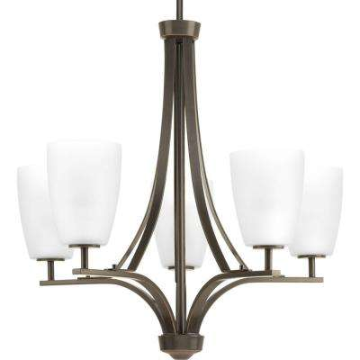 Leap Collection 5-light Antique Bronze Chandelier with Etched Opal Glass Shade