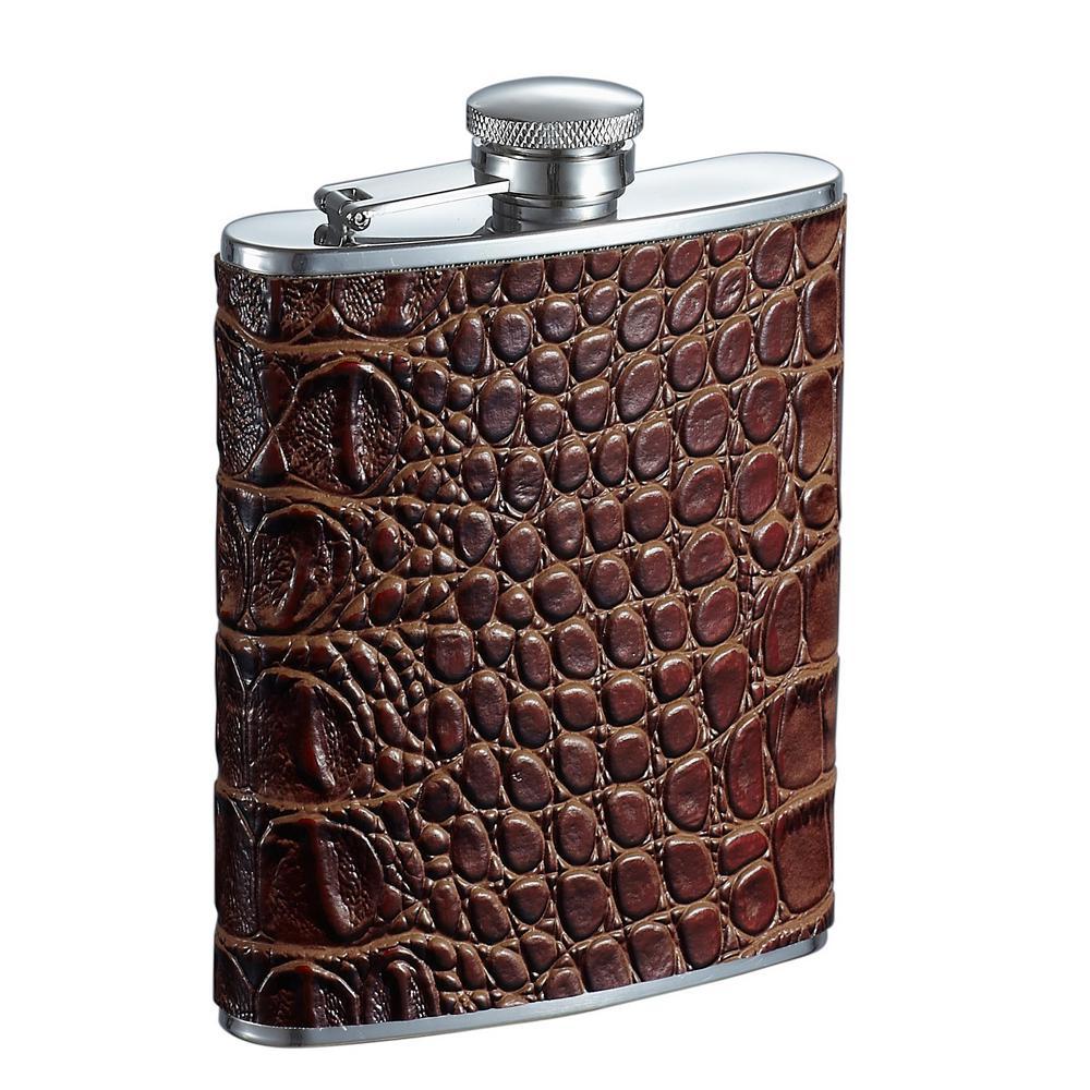 Bronze X Brown Crocodile Pattern Leather Liquor Flask