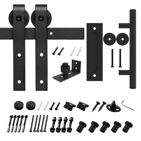 8 ft./96 in. Black Steel Bent Strap Sliding Barn Door Track and Hardware Kit with 12 in. Cylinder Handle and Floor Guide